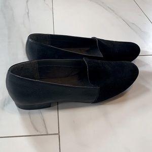 Black slip on suede loafers